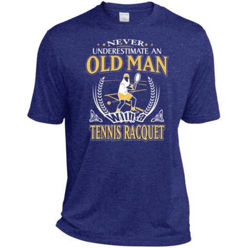 Never underestimate an old man with tennis racquet sport t-shirt