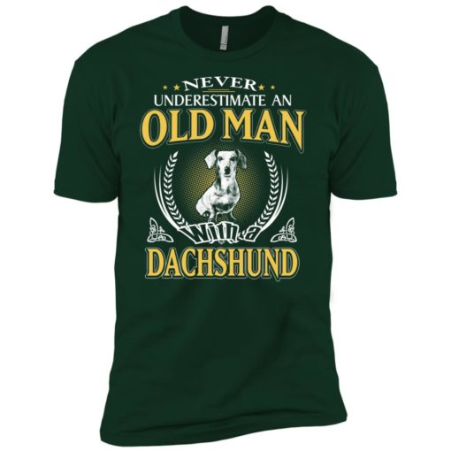 Never underestimate an old man with dachshund premium t-shirt
