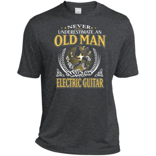 Never underestimate an old man with electric guitar sport t-shirt