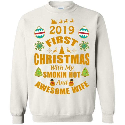 2019 first christmas with my new wife sweatshirt