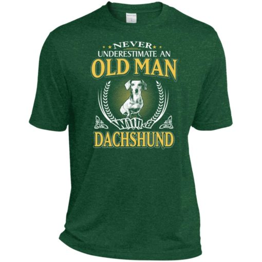 Never underestimate an old man with dachshund sport t-shirt