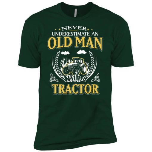 Never underestimate an old man with tractor premium t-shirt