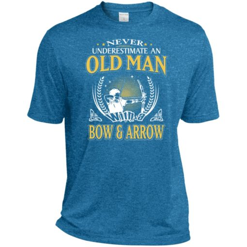 Never underestimate an old man with bow & arrow sport t-shirt