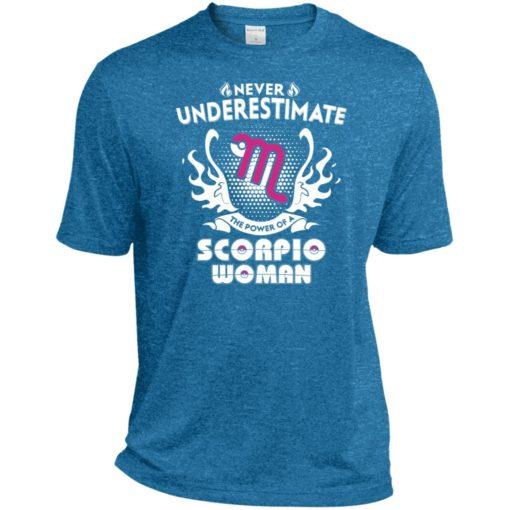 Never underestimate the power of scorpio woman sport t-shirt