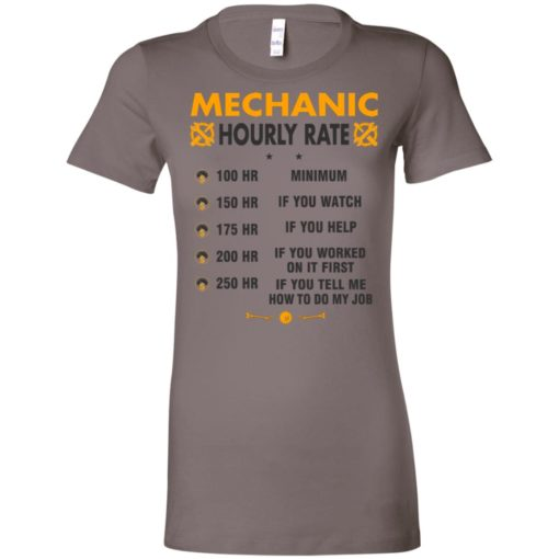 Funny mechanic hourly rate job if you tell me how to do my job women tee
