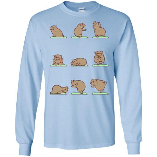 Hippie yoga shirt funny hippo yoga pose downward hippopotamus class long sleeve