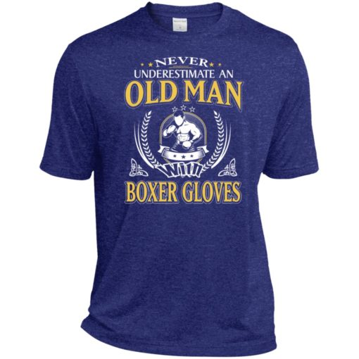 Never underestimate an old man with boxer sport t-shirt