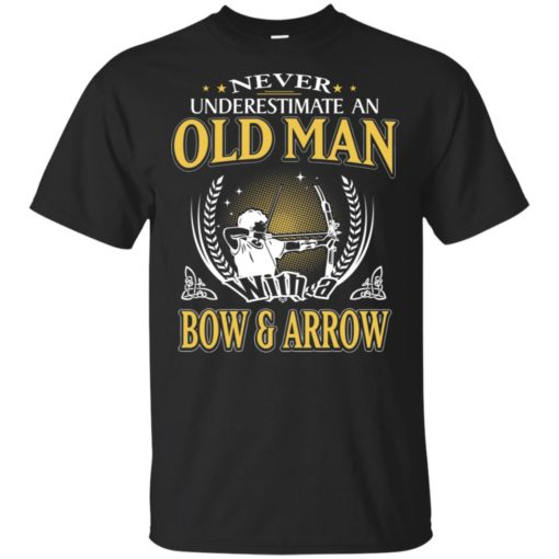 Never underestimate an old man with bow & arrow t-shirt