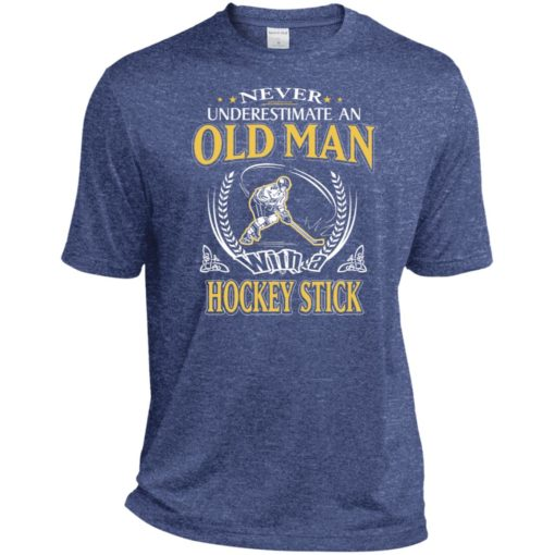 Never underestimate an old man with hockey stick sport t-shirt