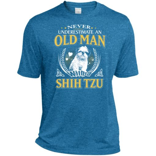 Never underestimate an old man with shih tzu sport t-shirt