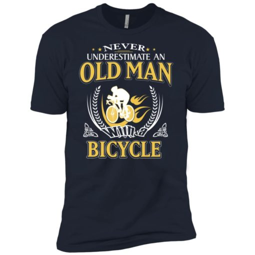 Never underestimate an old man with bicycle premium t-shirt