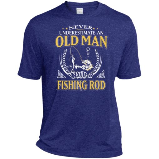 Never underestimate an old man with fishing rod sport t-shirt