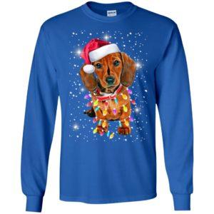 Dachshund xmas light snow night merry christmas dog lover long sleeve