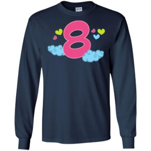 8th birthday gift shirt cute 8 year old kids long sleeve