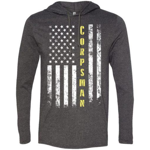 Proud corpsman miracle job title american flag long sleeve hoodie