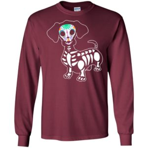 Dachshund skeleton holo skull style dog lover long sleeve
