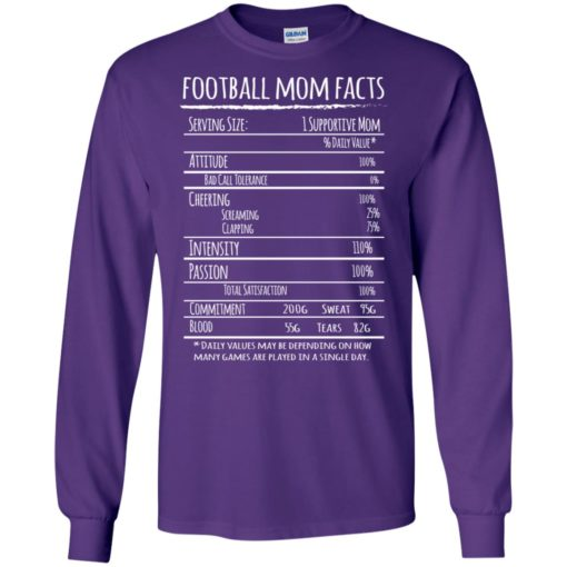 Football mom facts shirt funny gift for football player mother long sleeve