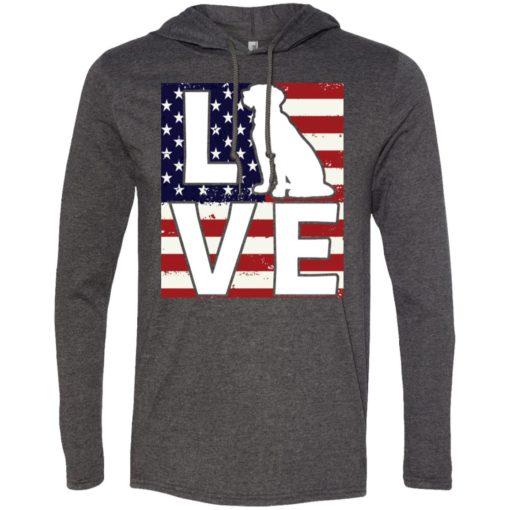 Dog lovers gift patriotic american flag dog love long sleeve hoodie