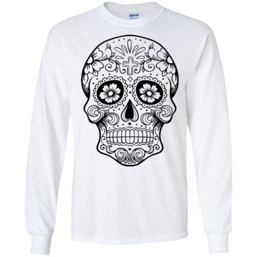 Mexican skull art 1 skeleton face day of the dead dia de los muertos long sleeve