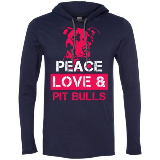 Dog lovers gift peace love and pit bulls long sleeve hoodie