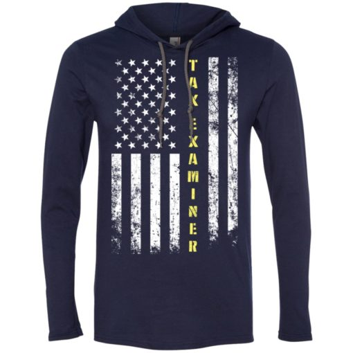 Proud tax examiner miracle job title american flag long sleeve hoodie