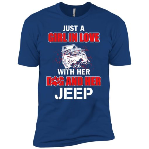 Just a girl in love with her dog and jeep premium t-shirt