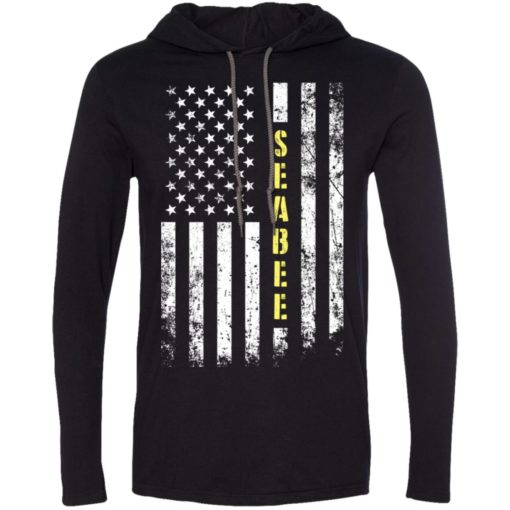 Proud seabee miracle job title american flag long sleeve hoodie