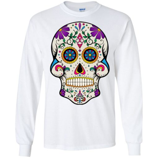 Mexican skull art 7 skeleton face day of the dead dia de los muertos long sleeve