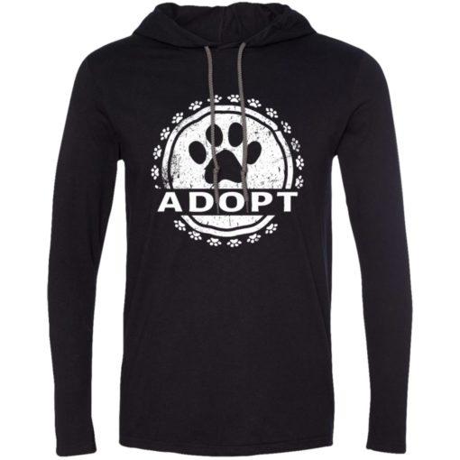 Dog lovers gift adopt a dog paw print long sleeve hoodie