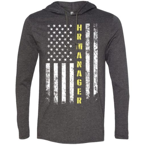 Proud hr manager miracle job title american flag long sleeve hoodie