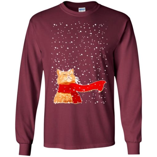 Chrismas gift cat and snow beautiful gifand mug for cat lovers long sleeve