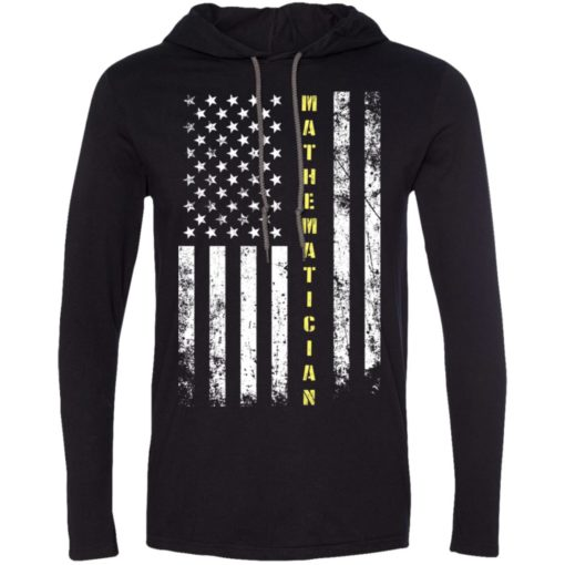 Proud mathematician miracle job title american flag long sleeve hoodie