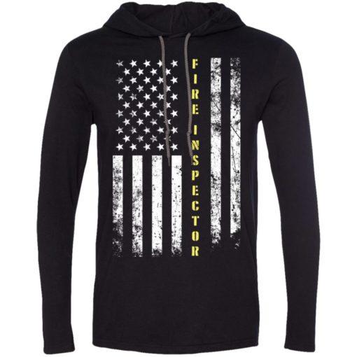 Proud fire inspector miracle job title american flag long sleeve hoodie