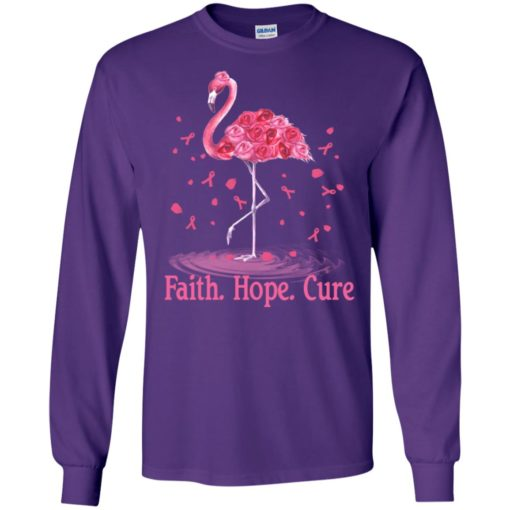 Breast cancer awareness flamingo faith hope cure long sleeve