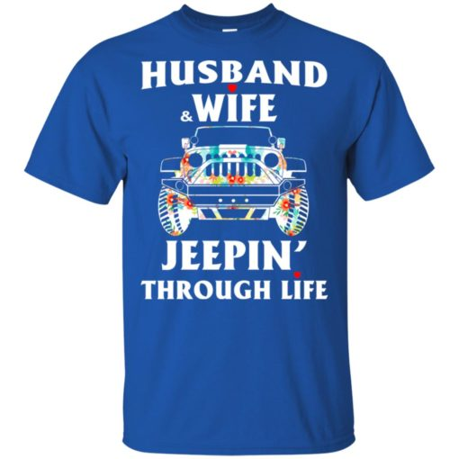 Husband and wife jeeping through life t-shirt