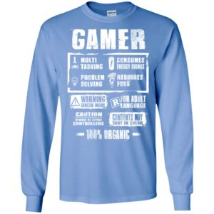 Funny gamer label gift for who love video game gaming addicted long sleeve