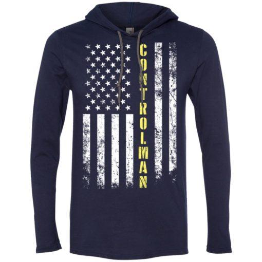 Proud controlman miracle job title american flag long sleeve hoodie