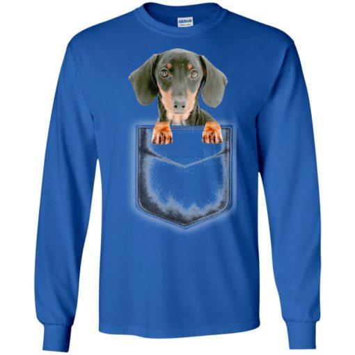 Dachshund puppy in left pocket artwork i love my dog long sleeve
