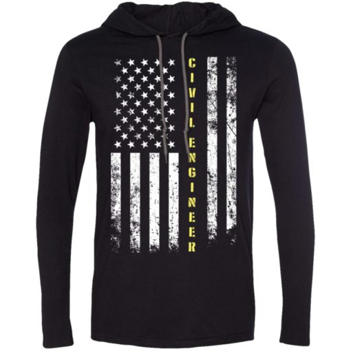 Proud civil engineer miracle job title american flag long sleeve hoodie