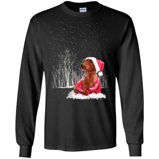 Dachshund in snow night noel hat dog lover christmas gift long sleeve