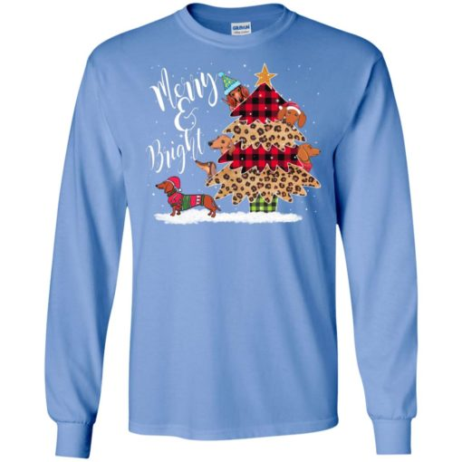 Best dachshund christmas tree merry and bright cute art dog lover long sleeve