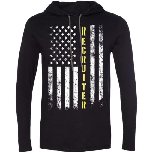 Proud recruiter miracle job title american flag long sleeve hoodie