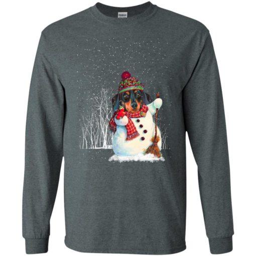 Dachshund in snowman snowy night noel hat dog lover christmas gift long sleeve