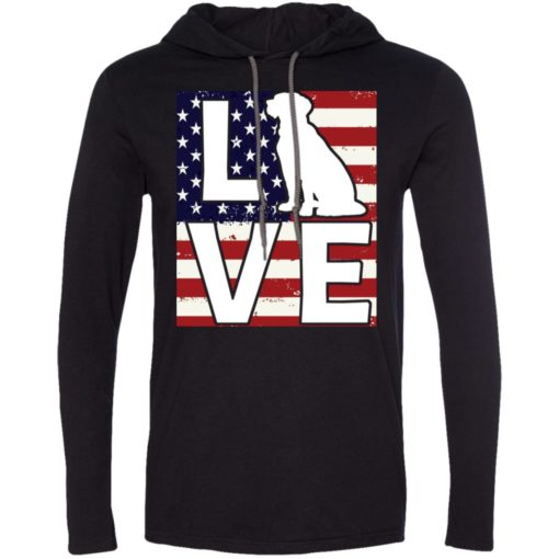 Dog lovers gift patriotic american flag dog love long sleeve hoodie