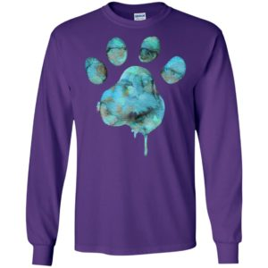 Watercolor blue paw art dog cat pet lover cool style long sleeve