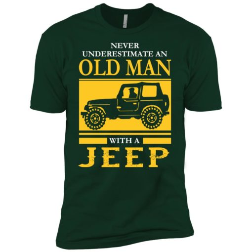 Never underestimate old man with jeep premium t-shirt