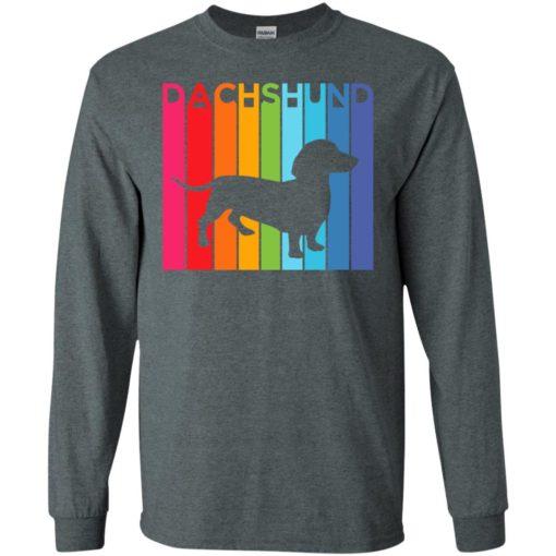 Dachshund rainbow color modern artwork dog shirt ideas long sleeve