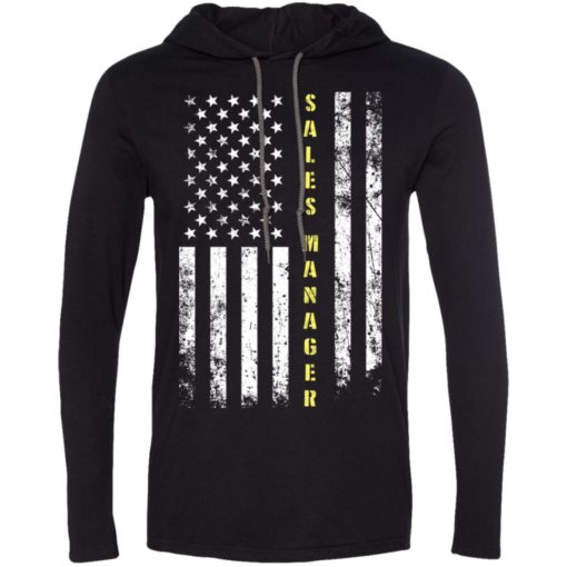 Proud sales manager miracle job title american flag long sleeve hoodie