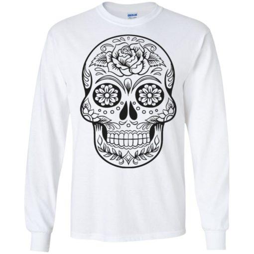 Mexican skull art 2 skeleton face day of the dead dia de los muertos long sleeve