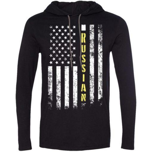 Proud russian miracle job title american flag long sleeve hoodie